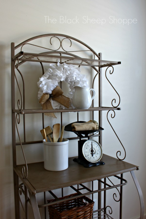 Bakers racks are a great solution for storage.