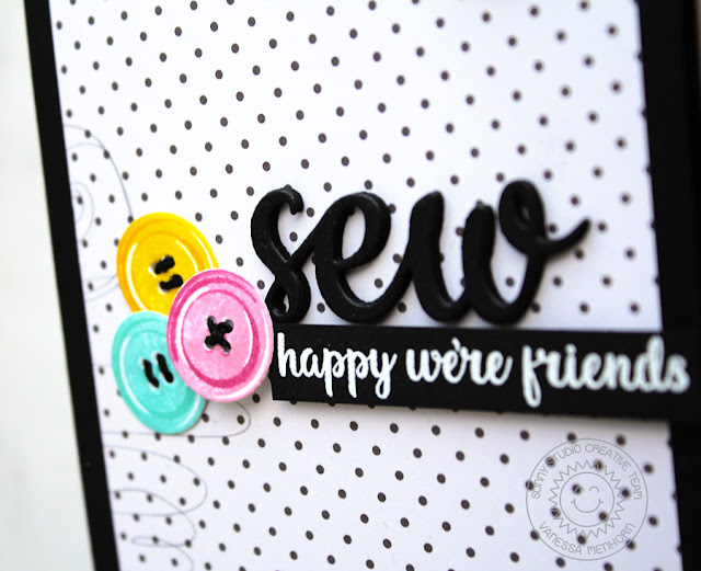 Sunny Studio Stamps: Cute As a Button Threaded Button Friendship Card by Vanessa Menhorn
