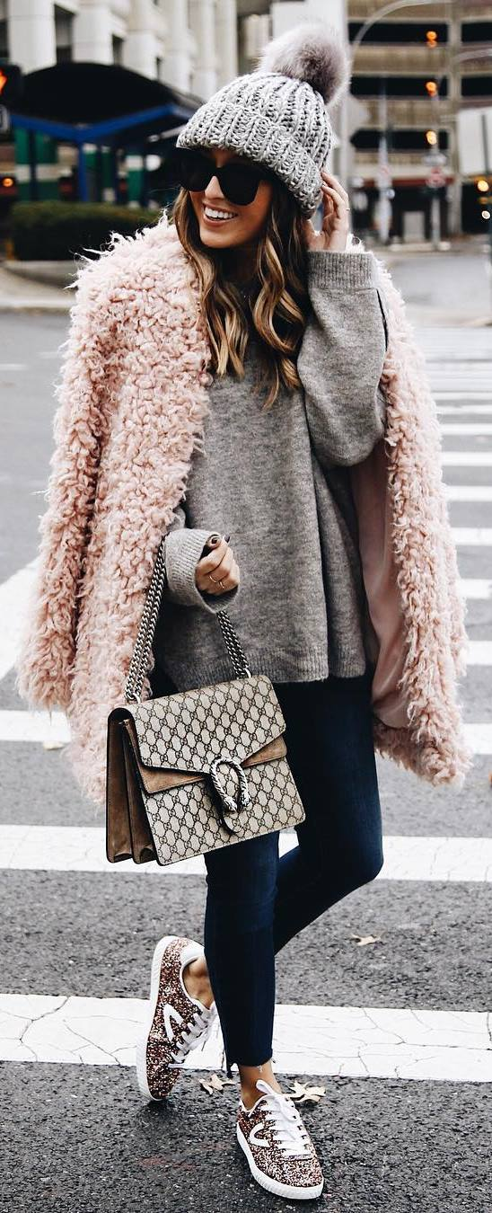 cozy outfit inspiration / hat +bag + pink coat + sweater + skinnies + glitter sneakers