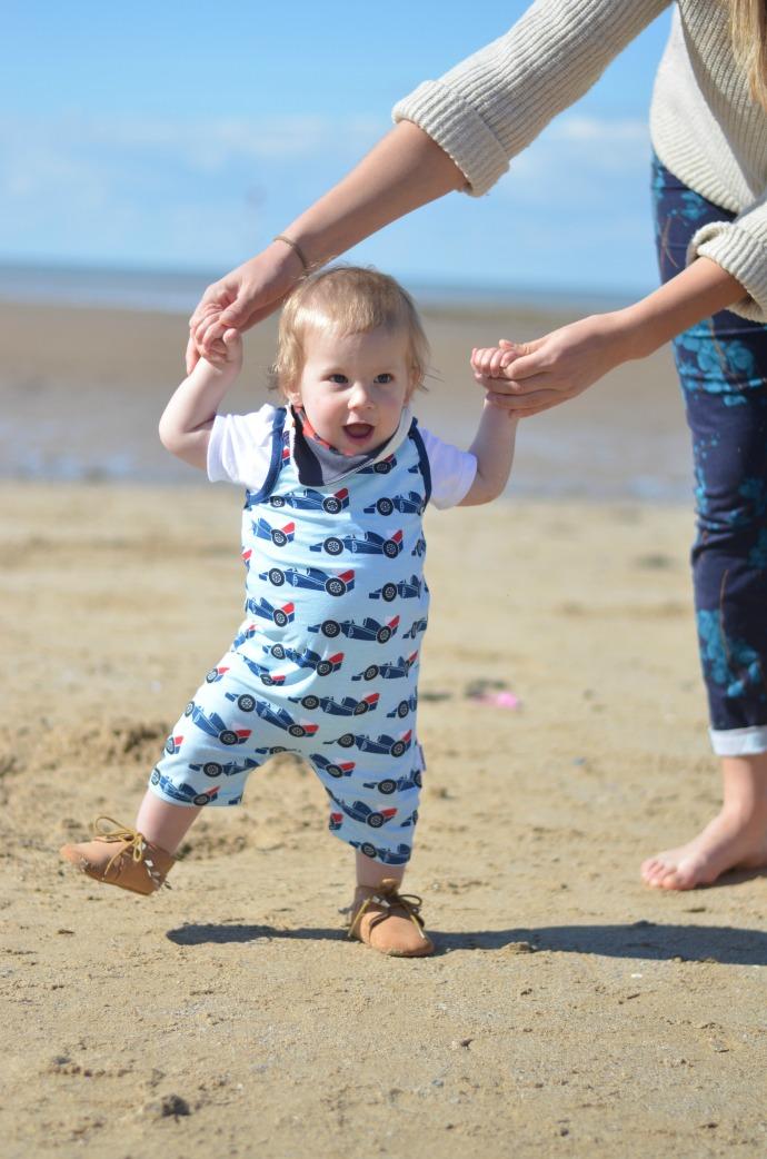learning to walk, maxomorra, dapperbaby, racing car dungarees, bib shorts