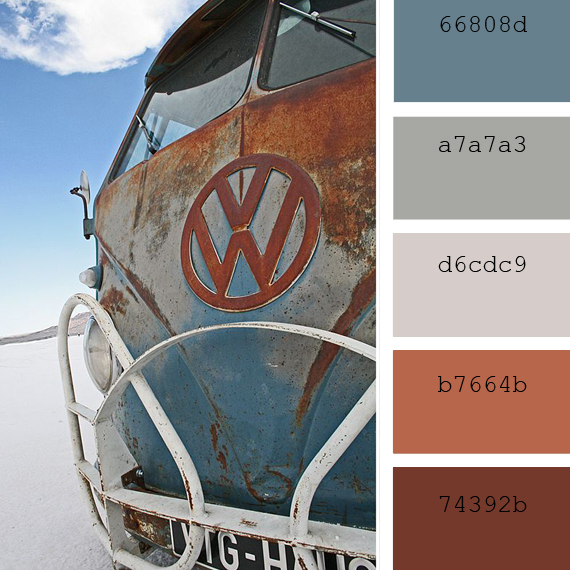 rust and sky blue tones color palettes