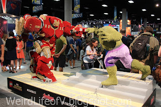 large Iron Man and Incredible Hulk Lego statues at the Lego Booth