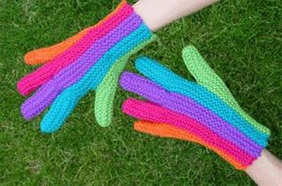 Guantes de Crochet con un Dedo de Cada Color