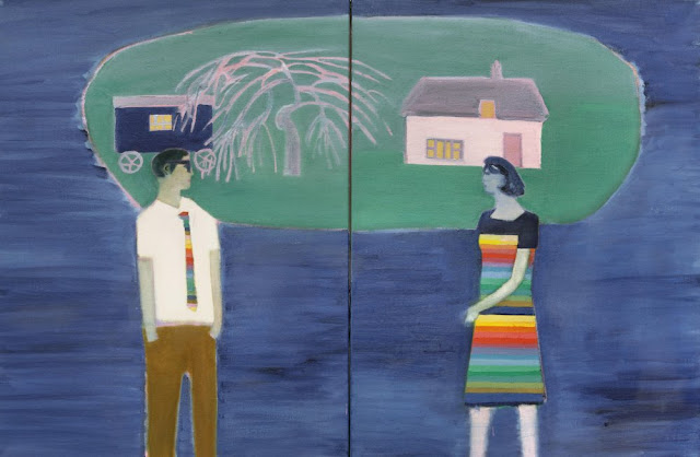 Floating Island, 2016 by Tom Hammick - Oil on canvas diptych