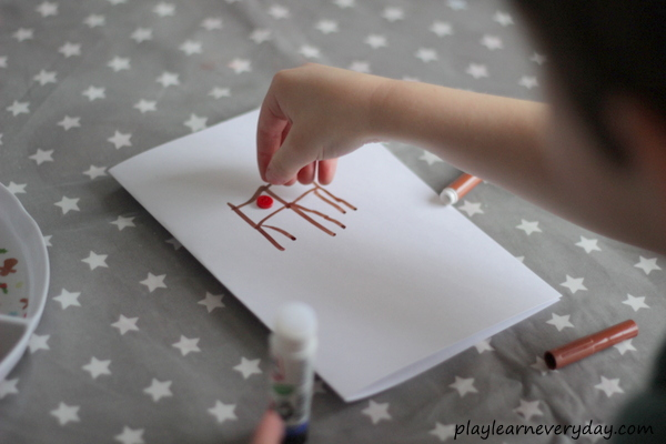 Reindeer Christmas Cards To Make.Button Reindeer Christmas Cards Play And Learn Every Day