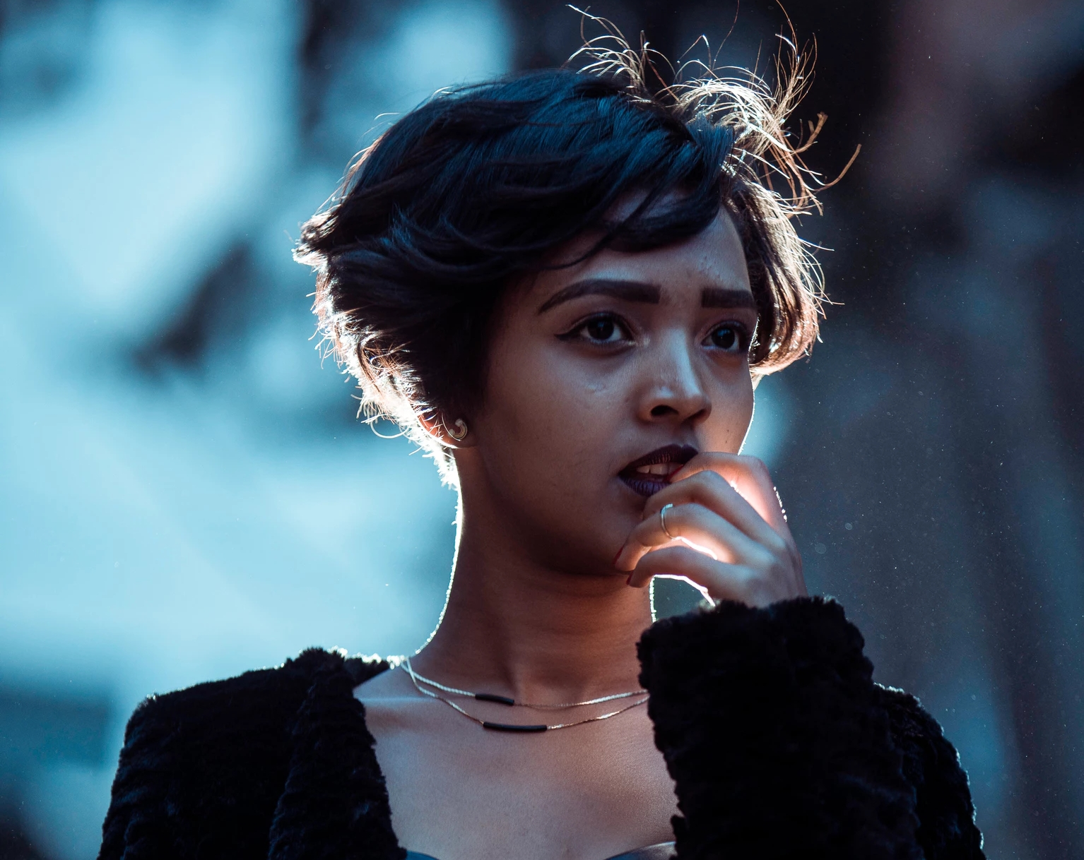 girl with pixie haircut at prom