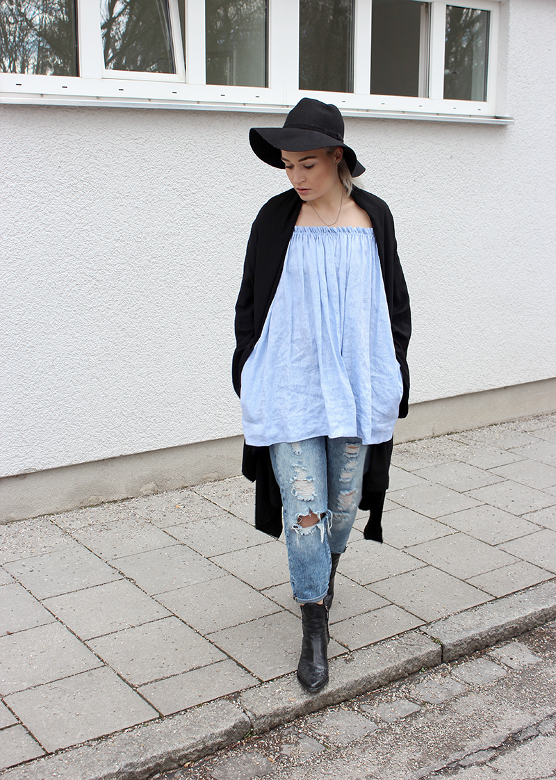 Fashion-Blog-Munich-München-Muenchen-Off Shoulder-Dress-La Perlin-Denim-Denim All Over-Destroyed Jeans-Boyfriend Jeans-tigha-zara-Fashionblog-Modeblog-OOTD-Outfit--Modeprinzesschen-Deutschland