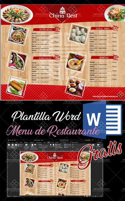 carta restaurante plantilla word de comida china
