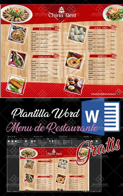 Plantilla editable en Word de menú para restaurante de comida china