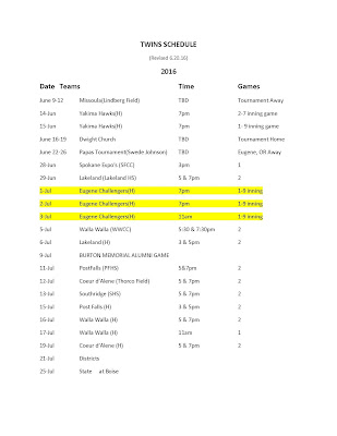 Updated Twins schedule 6.20.2016