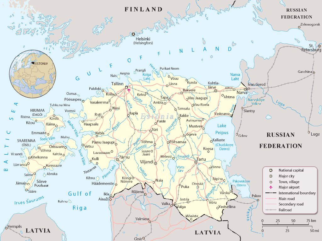 where is estonia in europe map