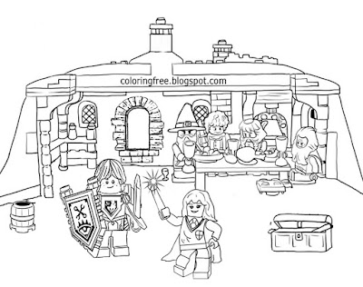 Printable cute tiny people magic land of wizards Lego Minifigures Men coloring book pages for free
