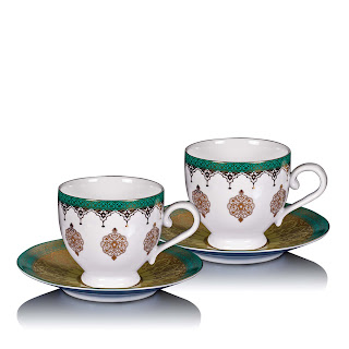7548-Mersin Blue & White Gold-Lined Porcelain Tea Cup & Saucer Set Of 2-Rs. 1,980