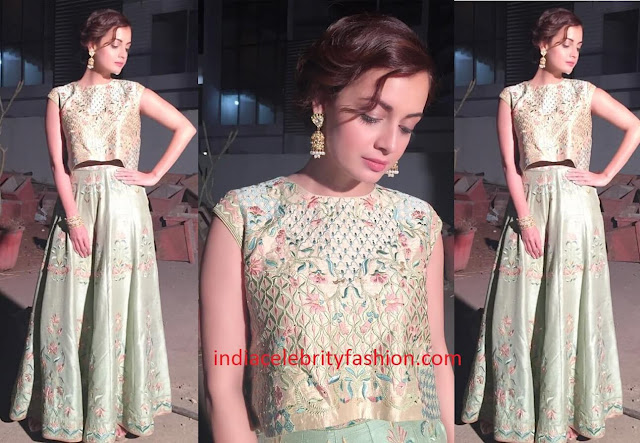 Dia Mirza in Anita Dongre crop top and skirt