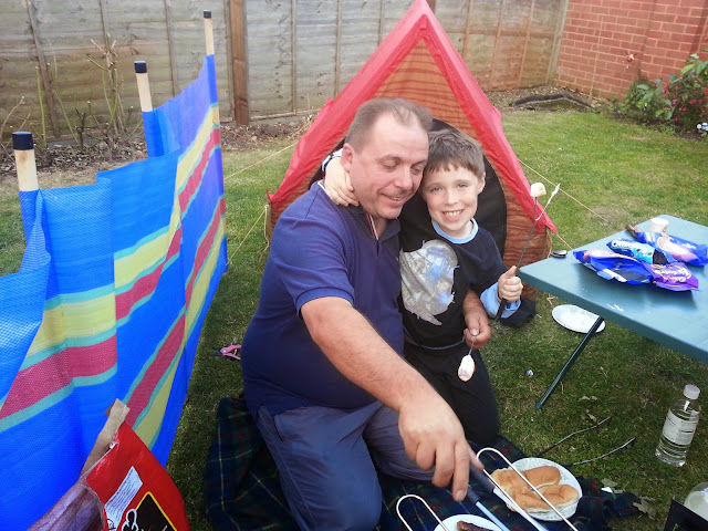 Father and Son Camping in the Garden