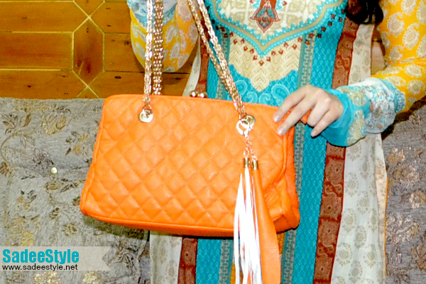 Hot Metallic Glitter Strap Leather Shoulder Handbag Bag Satchel Totes Classical Orange