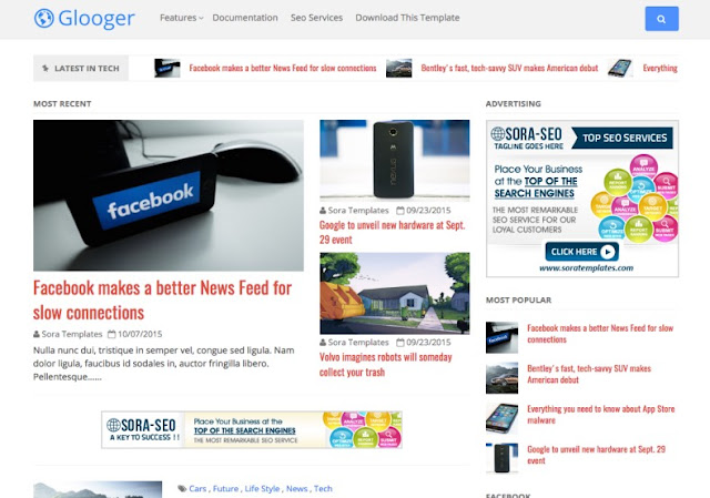 Glooger Blogger Template
