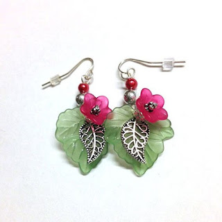 Green and Magenta Floral Dangle Earrings Jewelry