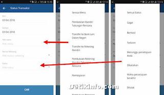 memfilter pencarian transaksi mandiri mobile