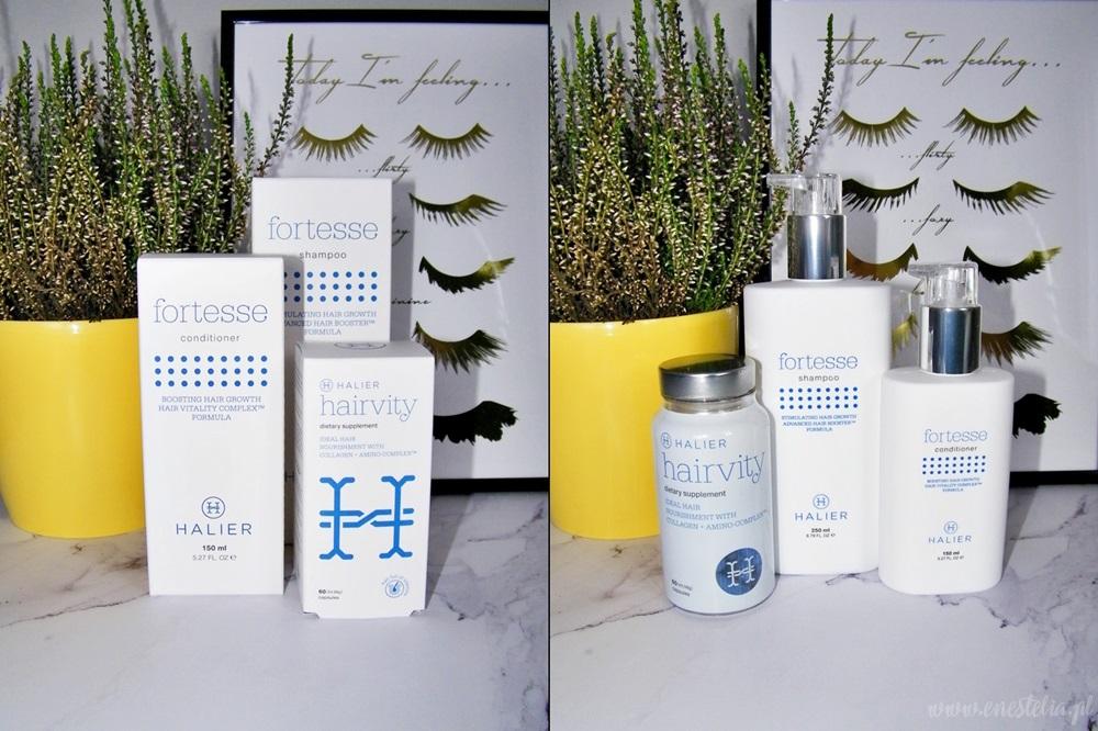 Halier - szampon i odżywka z serii Fortesse oraz nutrikosmetyk do włosów Hairvity