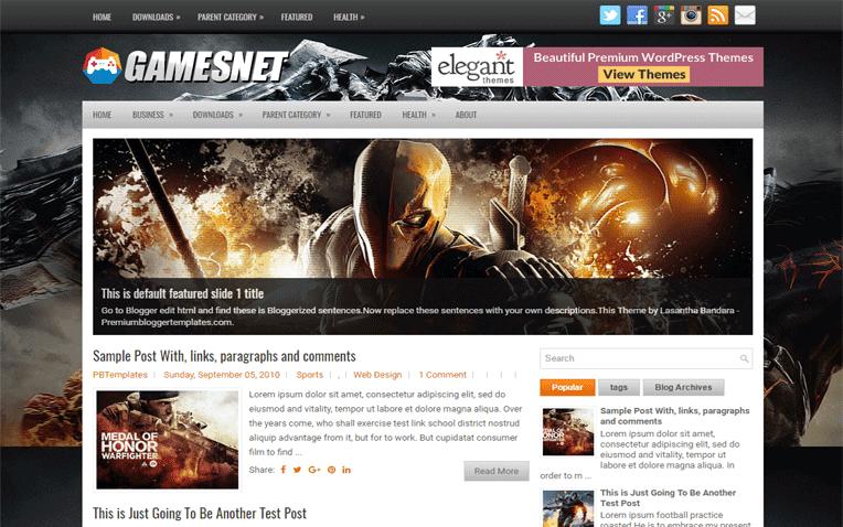 GamesNet Free Blogger Template