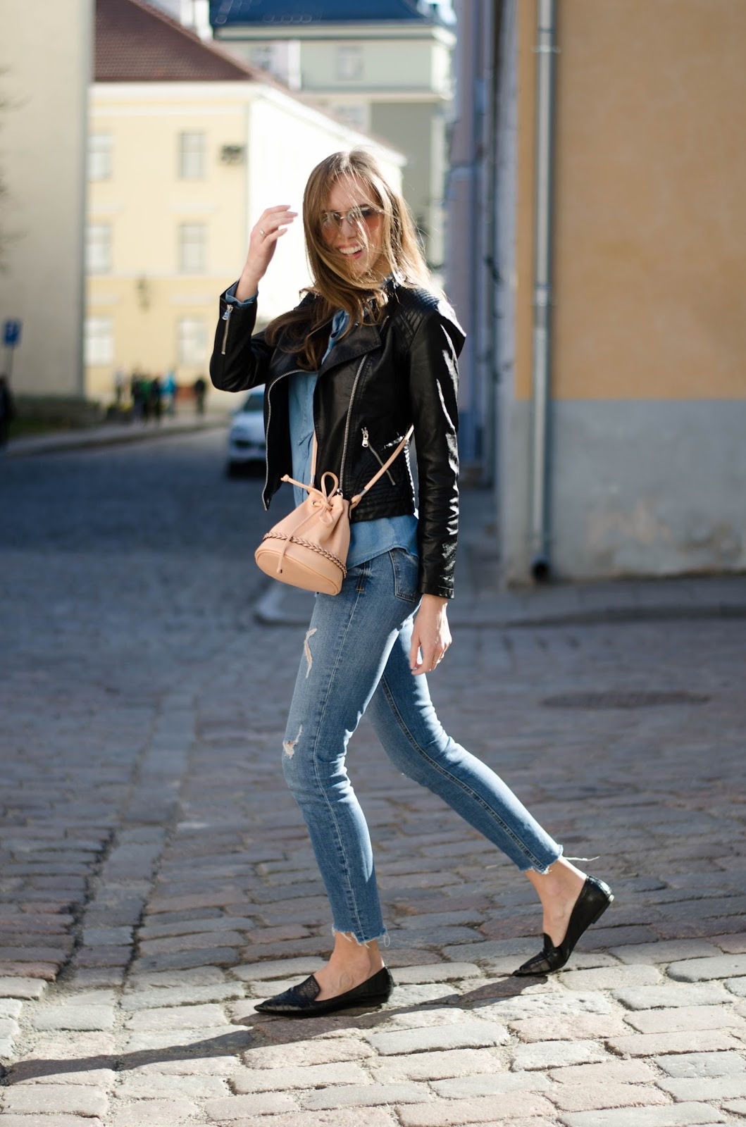 kristjaana mere spring minimalistic denim look leather jacket