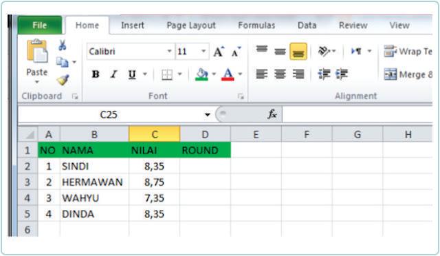 Cara Membulatkan Angka Dibelakang Koma Pada Excel