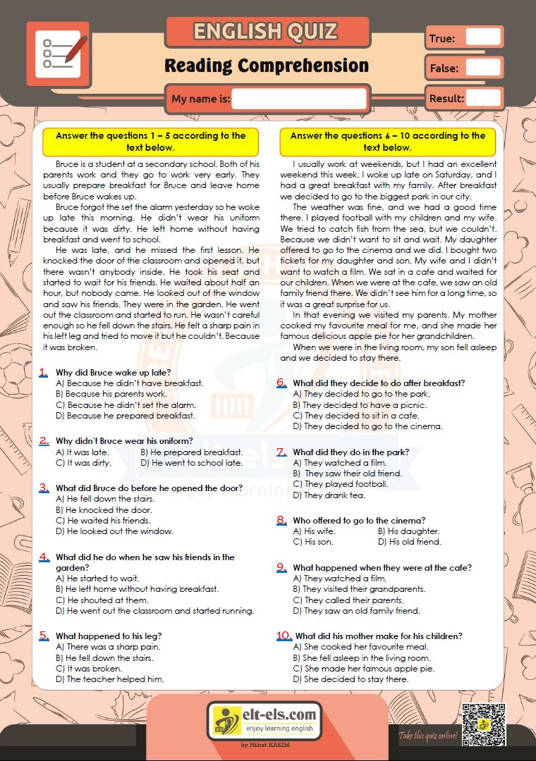 - Reading Comprehension Multiple Choice Test Www.elt-els.com