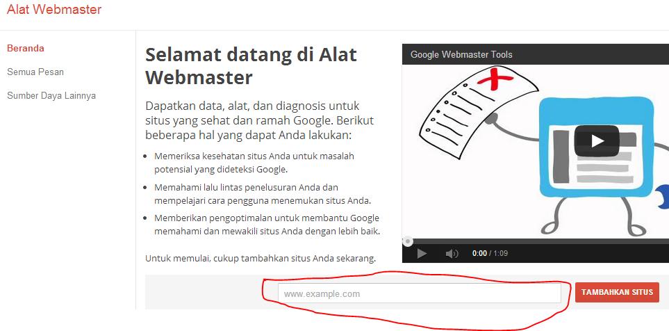 cara daftar google webmatster tools