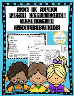 Back to School Parent Communication Checklists and Notes