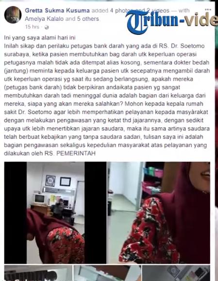 Pelayanan Dilnilai Buruk, Petugas Bank Darah Bentak Keluarga Pasien dengan Cara Tak Sopan