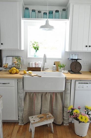 grain sack sink curtain