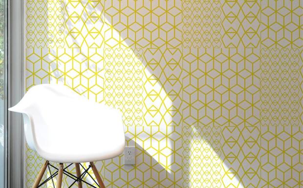 Fold Yellow Crystal par Kirath Ghundoo - Tuiles Murales adhésives, le papier peint nouvelle génération
