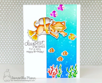 Deepest Birthday Wishes Card by Samantha Mann for Newton's Nook Designs, Summer, Scuba, Handmade Cards, Birthday Card, Distress Ink, ocean #distressinks #inkblending #birthdaycard #newtonsnook