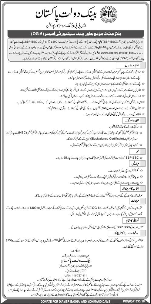 State Bank Of Pakistan Vacancies Announced Latest Jobs 18 November 2018