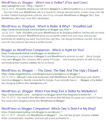 The Google Search Result for the Keyword WordPress or Blogger which is better