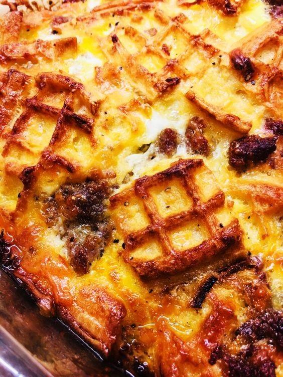 Maple Waffle Breakfast Casserole