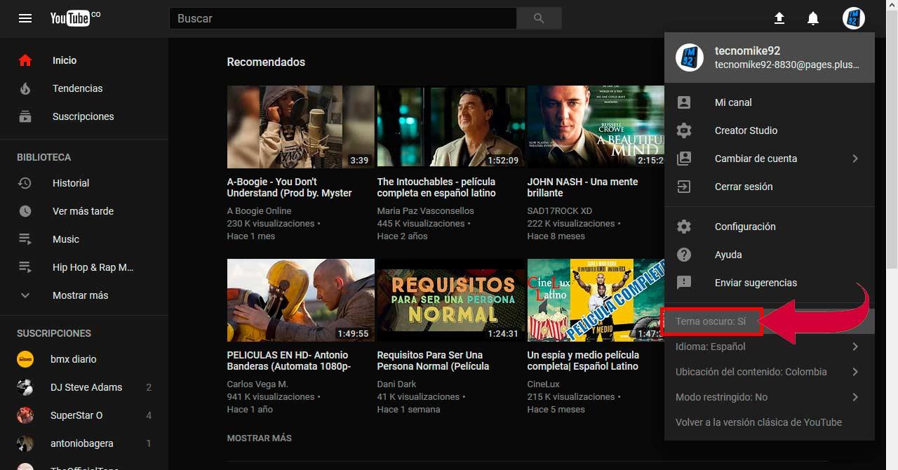 Activar el tema oscuro en Youtube