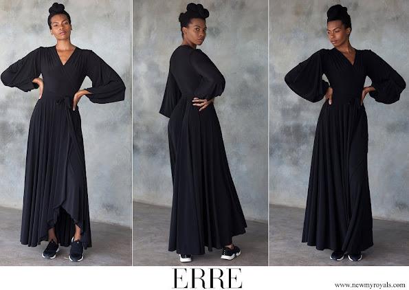 Princess Charlene wore ERRE Black Dancing Lady Maxi Wrap Dress