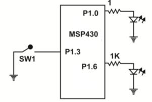 MSP430 Program using port pin interrupt   MSP430