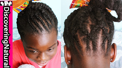 NATURAL HAIR KIDS HAIRSTYLE: Big and Small Cornrow, Criss Cross Braided Ponytail
