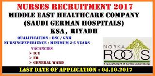 NURSES RECRUITMENT BY MIDDLE EAST HEALTHCARE COMPANY (SAUDI GERMAN HOSPITALS),  RIYADH, KSA