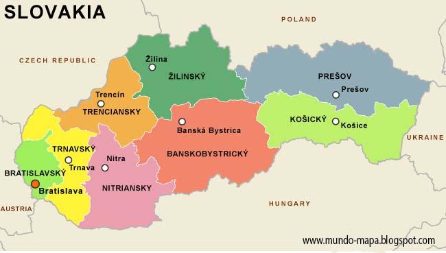 eslovaquia mapa Eslovaquia Mapa Geografi Político eslovaquia mapa