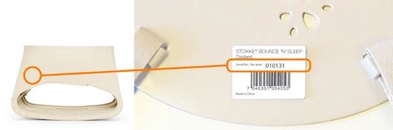 Stokke® Daybed serial number location