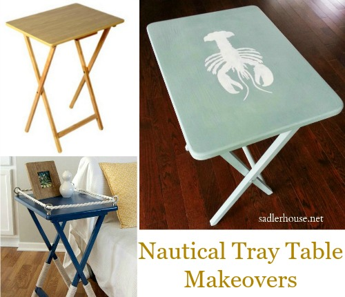 Nautical Tray Table Makeover