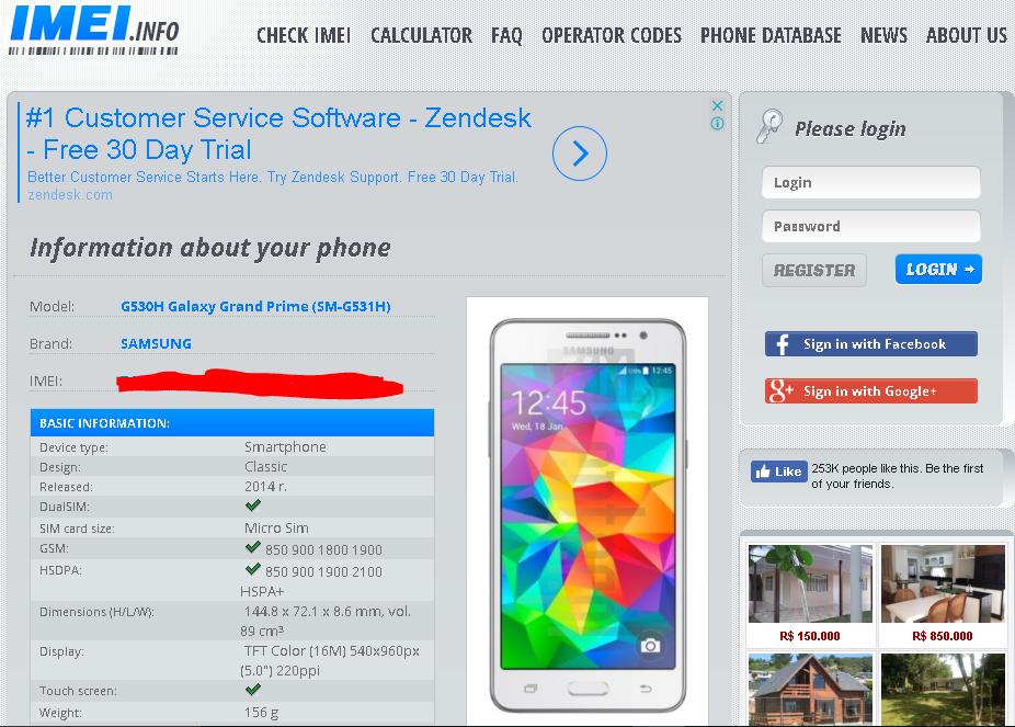 Informações do celular pelo IMEI