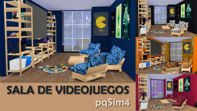 Cabecera Sala de videojuegos Sims 4 custom content.