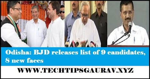 Odisha: BJD releases list of 9 candidates, 8 new faces