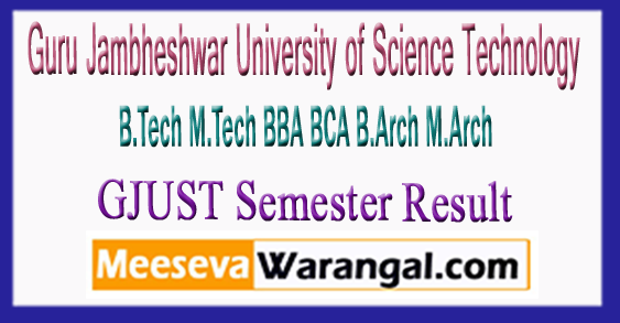 Guru Jambheshwar University of Science Technology B.Tech M.Tech BBA BCA B.Arch M.Arch Semester 2018