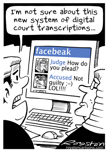 Royston Cartoons: Newspaper cartoon: Court out